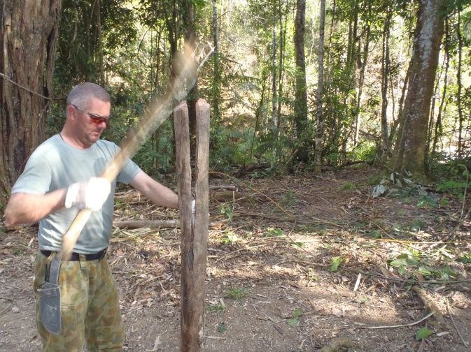 Thin branches or green softwoods may be split by holding the Heiman Hatchet in a double overhand grip and heaving down the length of the timber. For dry, thick or hardwoods, a batoning technique may be more effective.   Buy Now