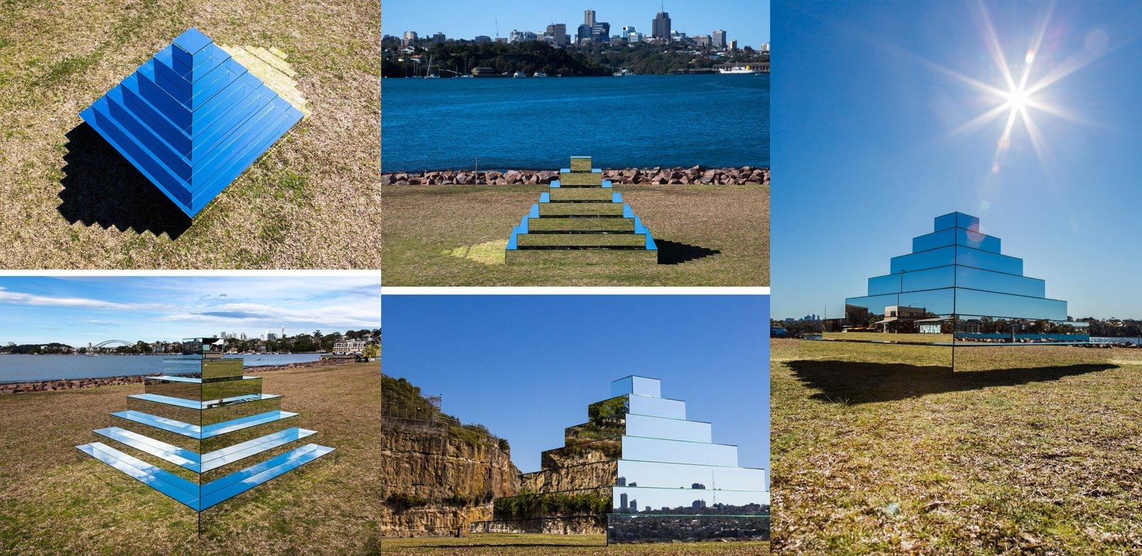 La Ziggurat miroir à Sydney vue sous différents angles