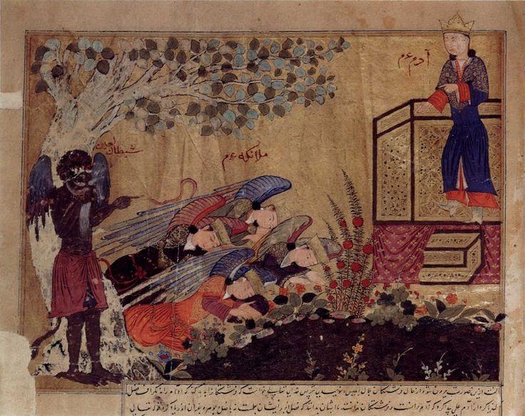 Illustration d'un manuscrit arabe des Chroniques de Tabari montrant Iblis refusant de se prosterner devant l'Adam nouvellement créé