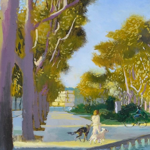 Detail of Musée Fabre Painting. Think Autumn… morning chill (by Montpellier standards)… taking the dog for a walk…  Looking forward to seeing all these paintings together in my show next week at Panter & Hall #museefabre  #fountain  #dogwalk  #painting  #artcollector  #artwork #peoplelookingatart #artlovers  #oilpainting #contemporaryrealism #impressionism  #oiloncanvas  #artist  #pleinair  #pleinairpainting #britishart  #artoftheday  #londonartscene  #mediterranean #montpellier  #visitmontpellier  #herault  #hérault  #southoffrance  #france #plaisirsdherault  #landscapepainting #arthistory  #artappreciation #drawinganatomyandart  @panterandhall