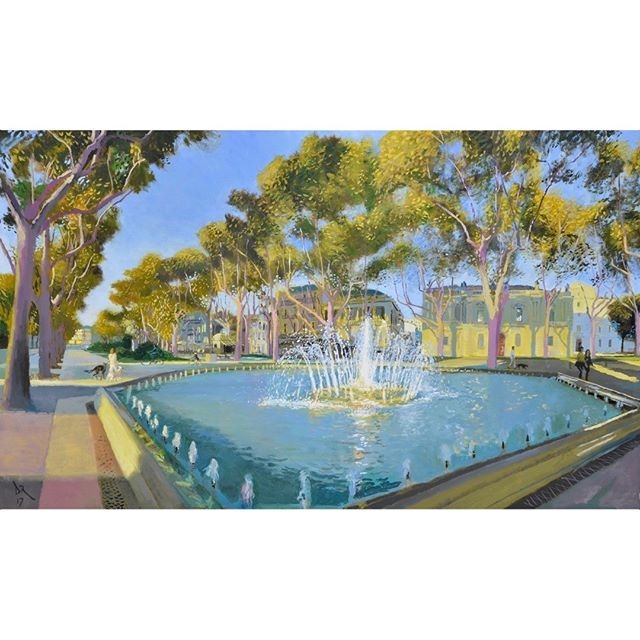 Musee Fabre fountain - full painting Still inspired by David Hockney, Claude Monet, Antoine Watteau et al Looking forward to seeing this canvas amongst all the others in my show at Panter and Hall next week... #museefabre  #fountain  #dogwalk  #autumn  #painting  #artcollector  #artlovers  #oilpainting  #impressionism  #oiloncanvas  #artist  #pleinair  #britishart  #artoftheday  #mediterranean #montpellier  #southoffrance  #plaisirsdherault  #landscapepainting #arthistory  #artappreciation #drawinganatomyandart  @panterandhall #monet  #watteau  #davidhockney