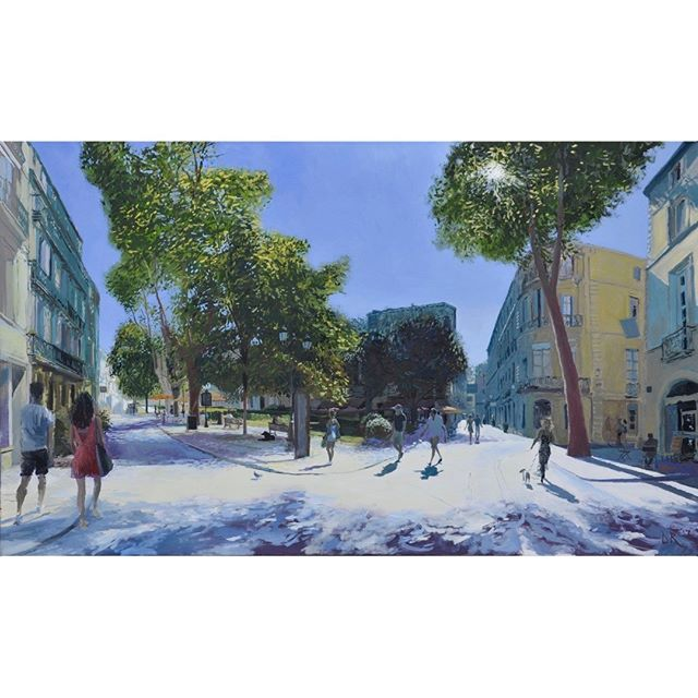 Place Canourgues, Montpellier, finished painting; trying to create space and luminosity - with wide angle, deep perspectives and 'contre-jour'  #painting #urbanlandscape #artbuyers #artbuyer #artcurator #artcurators #artwork #instalike #art #instagood #peoplelookingatart #artwatchers  #artlovers #oilpainting #instaart #contemporaryrealism #impressionism #oiloncanvas #artist #pleinair #pleinairpainting #britishart #montpellier #visitmontpellier #herault #hérault #southoffrance #france #plaisirsdherault