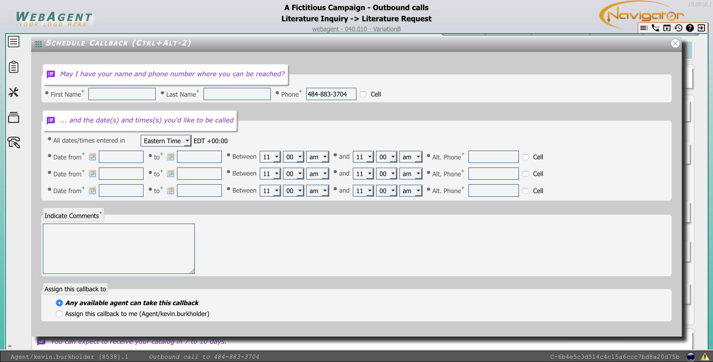 Callback Scheduler Screen