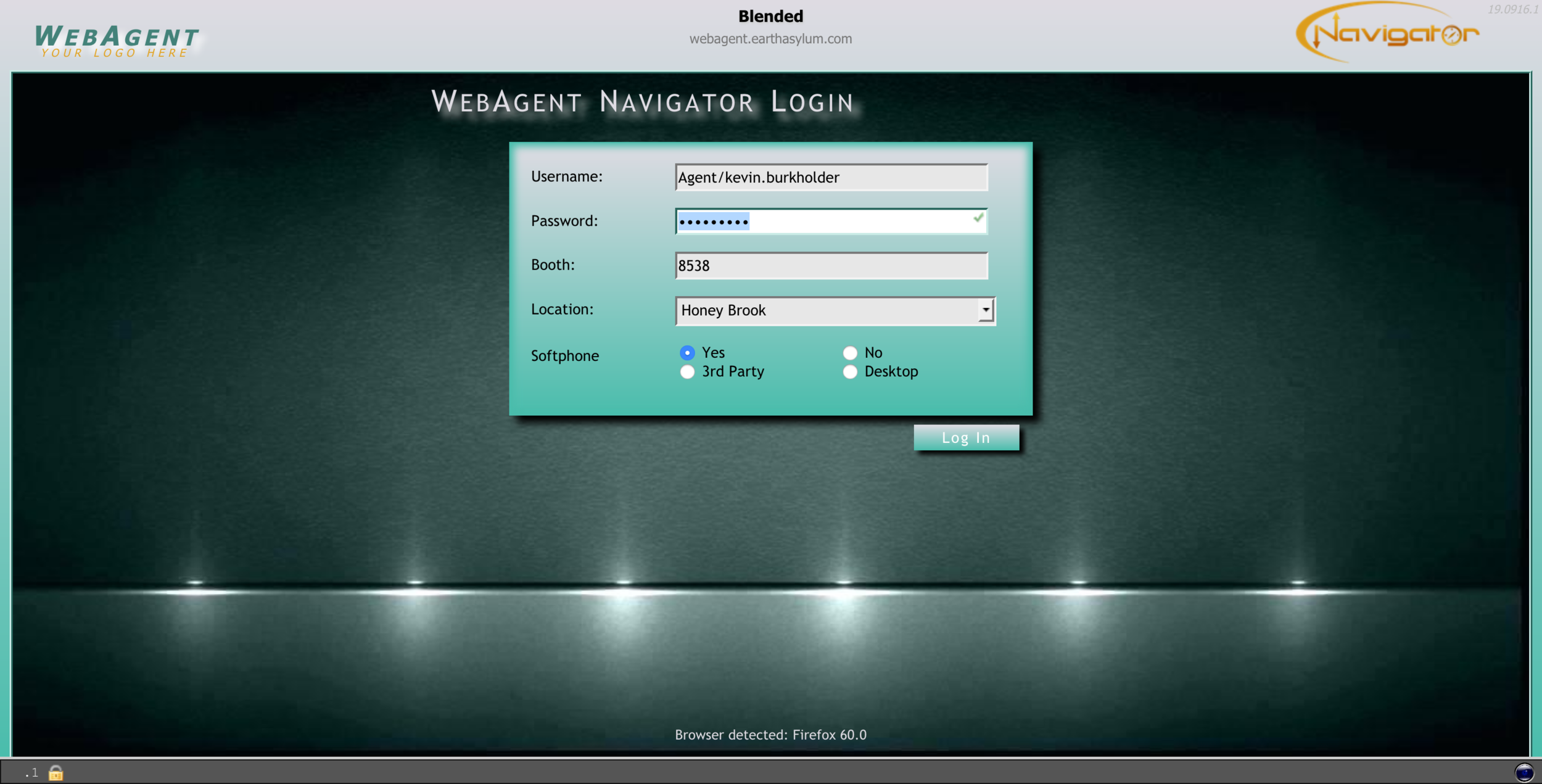 WebAgent Login Screen