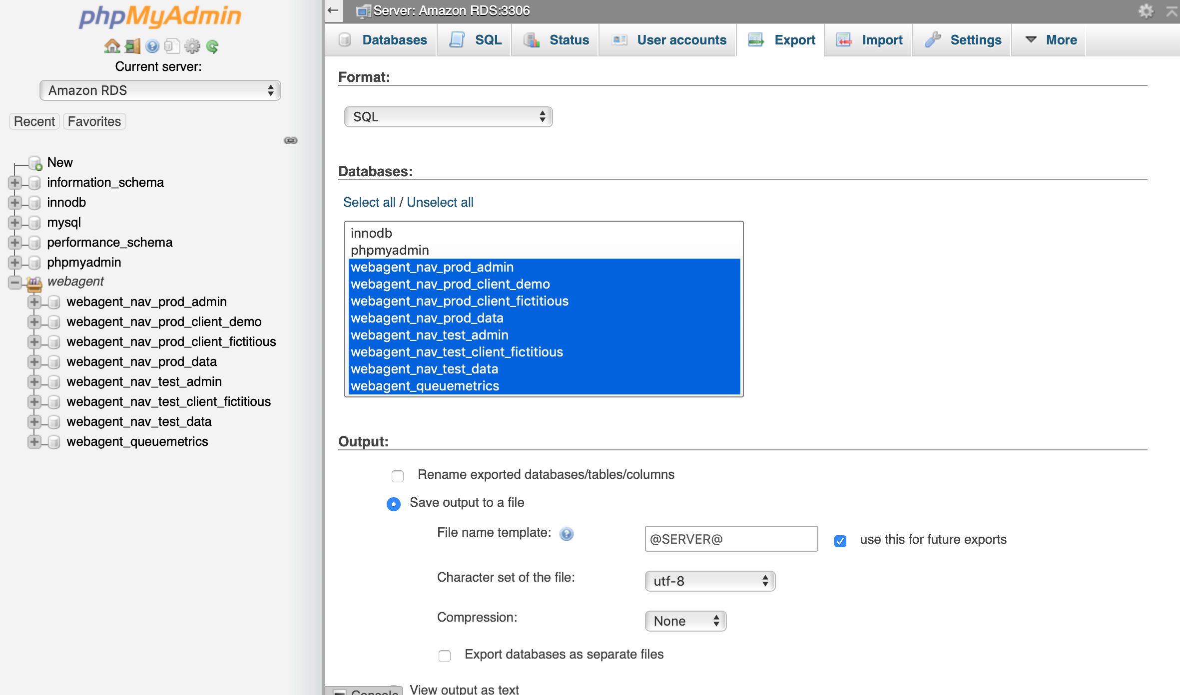 Exporting WebAgent databases using phpMyAdmin