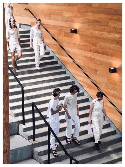 My classmates returning from our photo shoot in their muslin mock-ups–courtesy of Libby O'Bryan