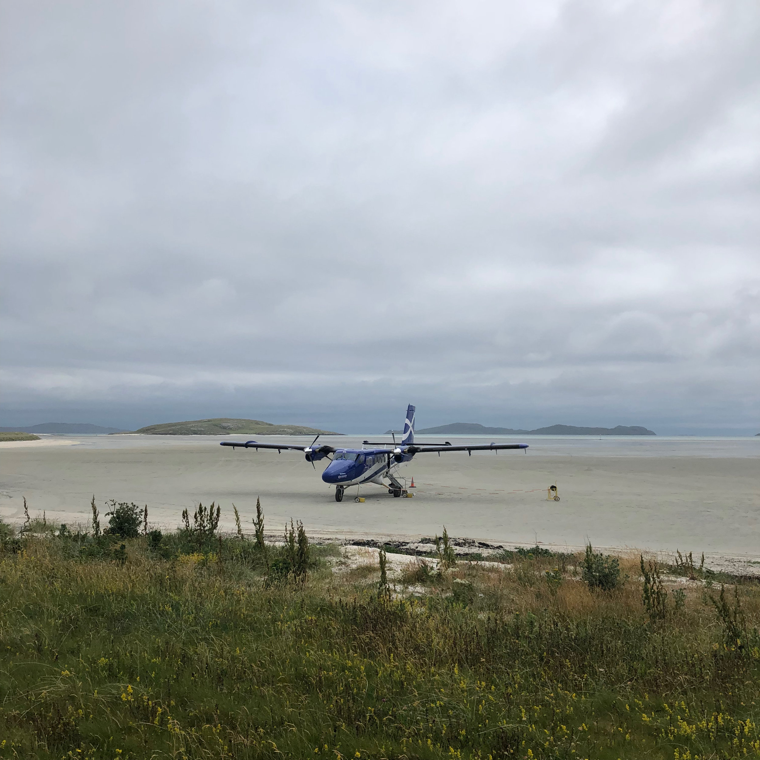 The twin engine Otter that lands on the beach in Barra.