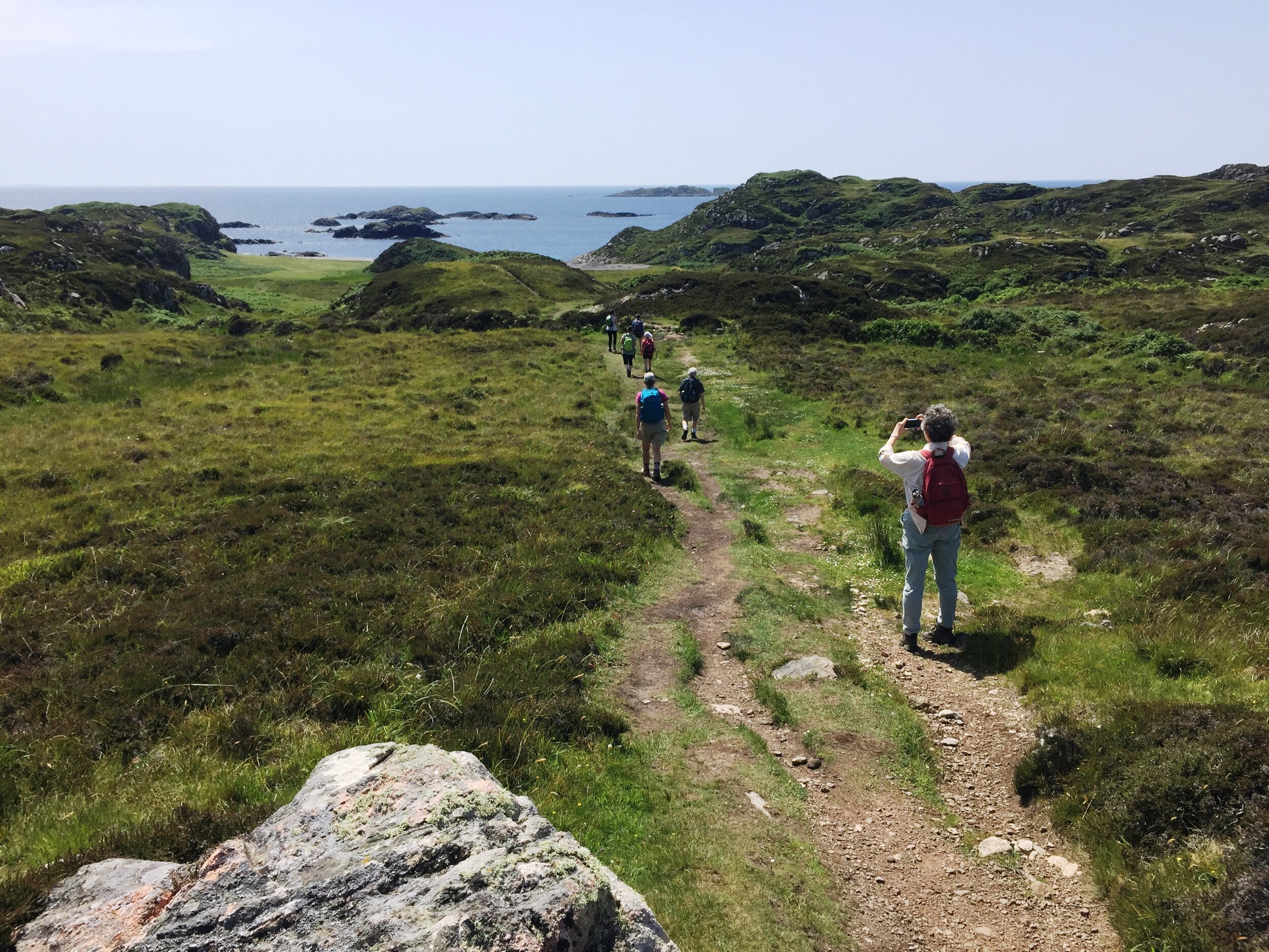 Walking down the hill to St. Columba's Bay