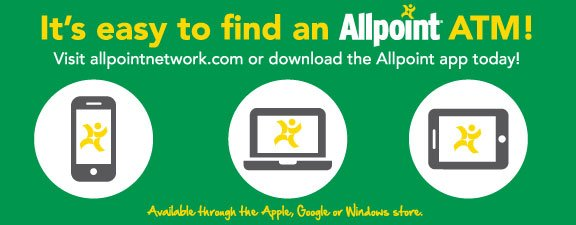 It's easy to find an allpoint atm