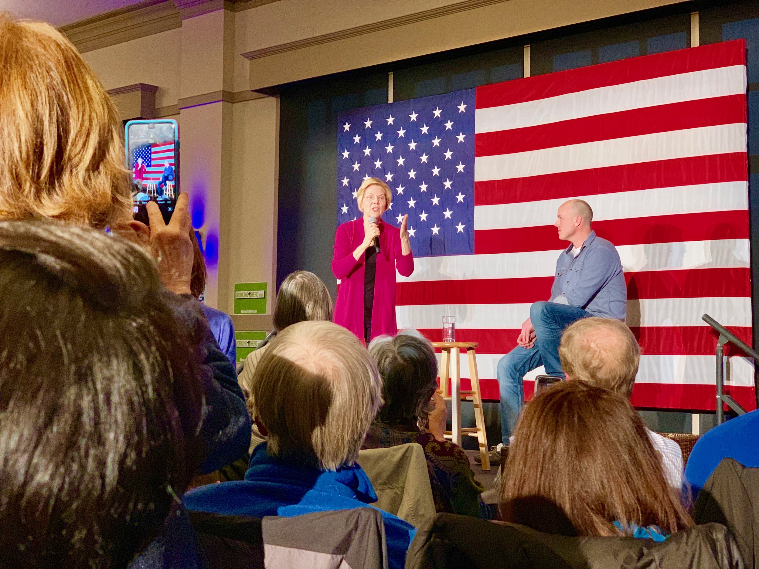 Senator Elizabeth Warren joins Working Hero Iowa director J.D. Scholten for an event in West Des Moines.