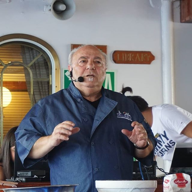 Chef Ezio aboard the Royal Clipper as the guest Chef. Here a cooking demonstration making Gnocchi.. Ports included Corisca France, Sardinia Italy, Portofinio Italy and Monaco...