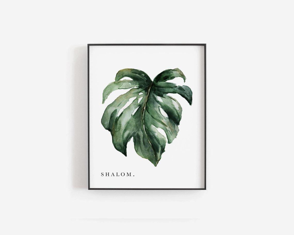 Shalom Leaf Print