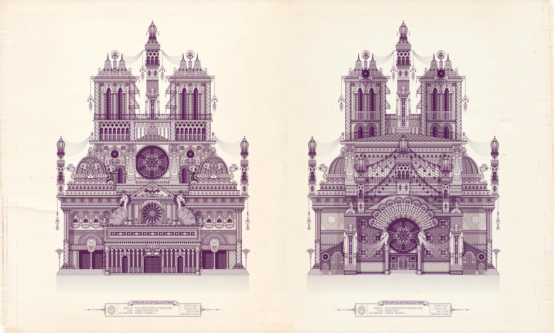 Notre Dame des demoiselles de Buranos / North & South  - Digitale illustration   2012