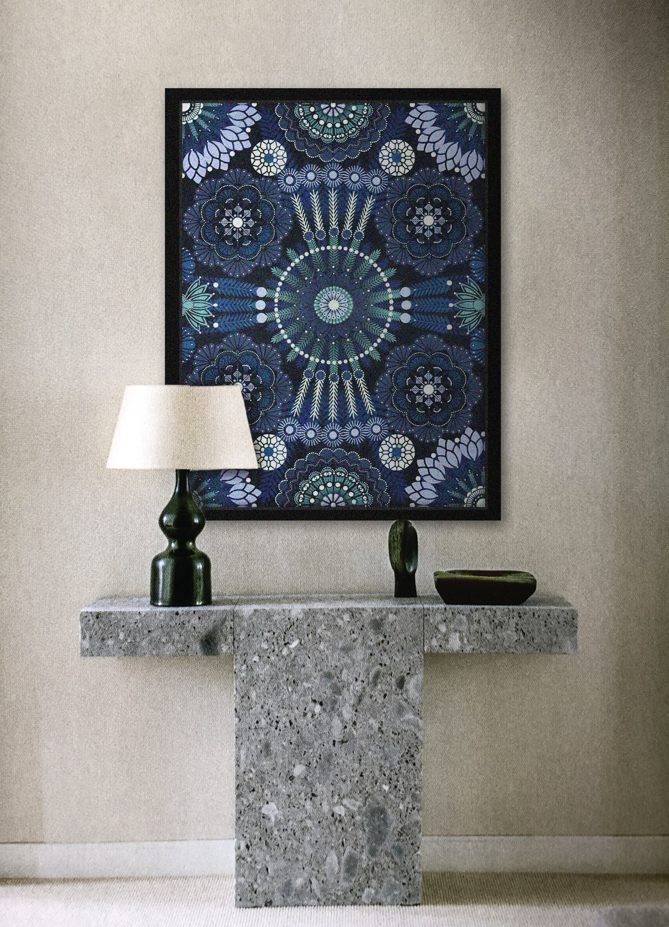 Kaleidoscopic Nature Sapphire  - Acrylic on canvas, 60 x 80 cm | 2018 *  Photo-montage w/ AD Magazine | janv-fev 2019 - P.105 | Emmanuel de Bayser, Paris FR.  |  Christian Kain