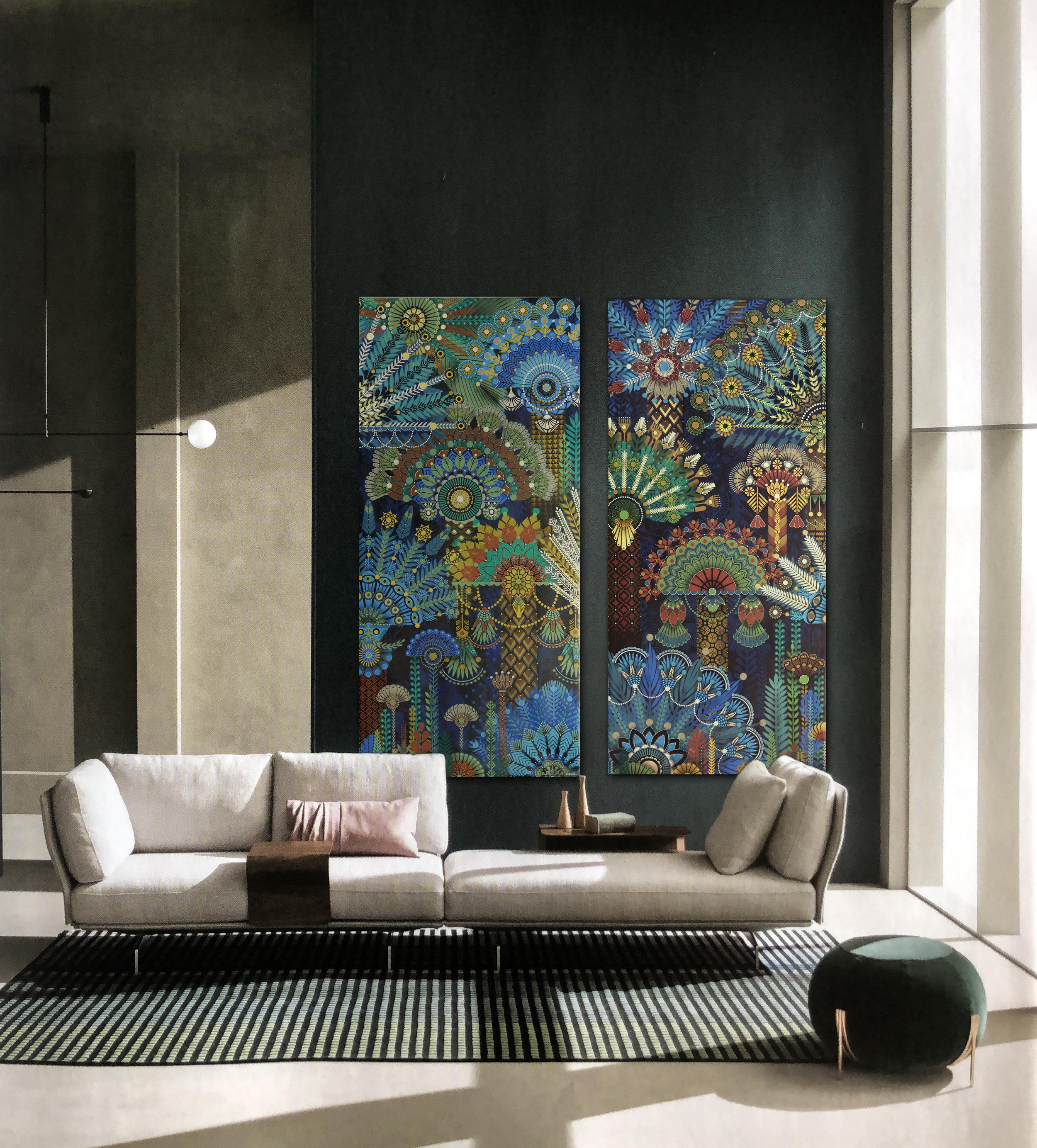 Palm Garden  - Acrylic on canvas, 214 x 100 cm | 2018 *  Photo-montage w/ IDEAT Magazine n°136 - P.47 | Pub SABA Italia  |  Contratticompagny