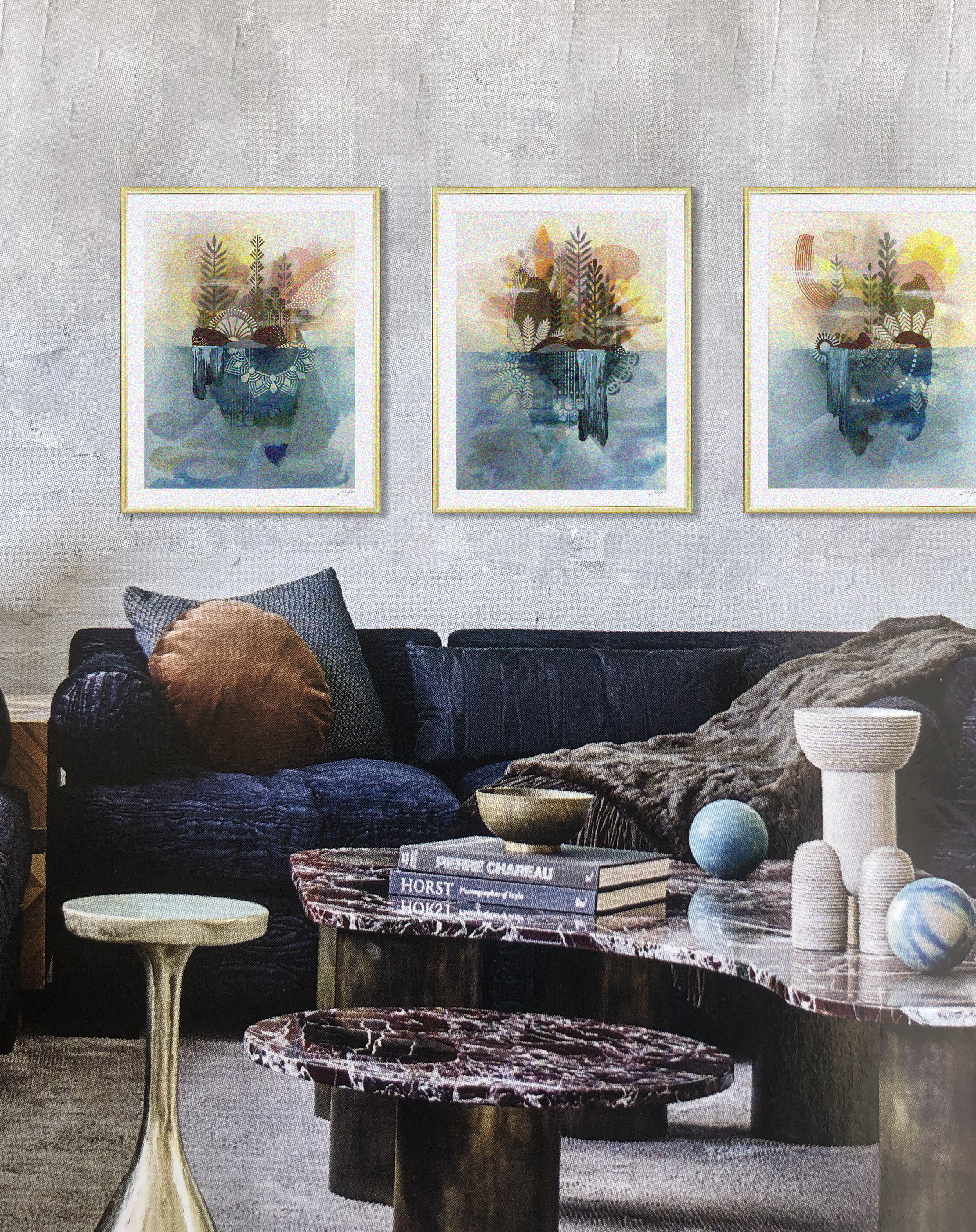 """Serie """" Jardin Flottant """"  - Mix media on paper - 36 x 46 cm 