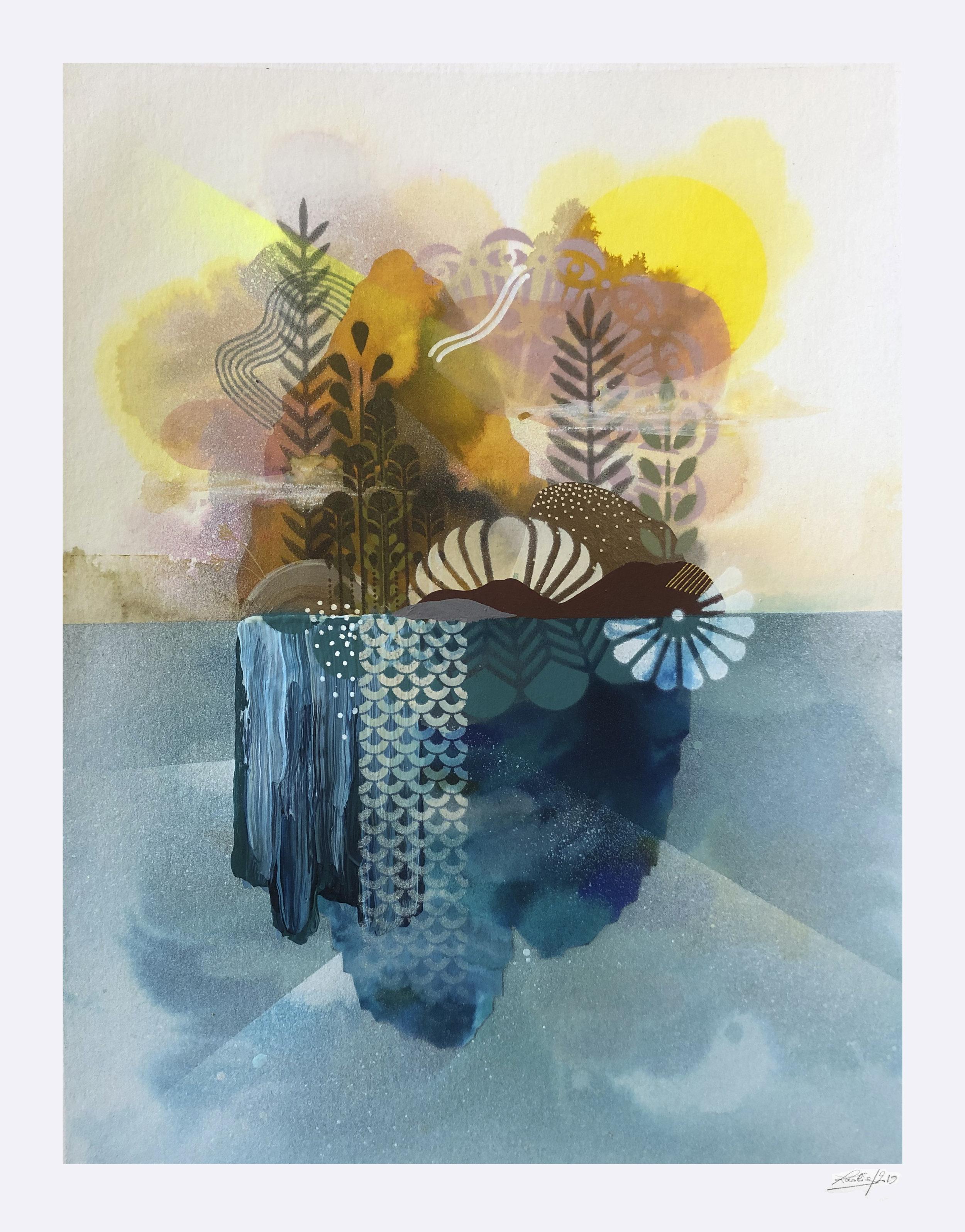 Jardin Flottant #1  - Mix media on paper - 36 x46 cm | 2019