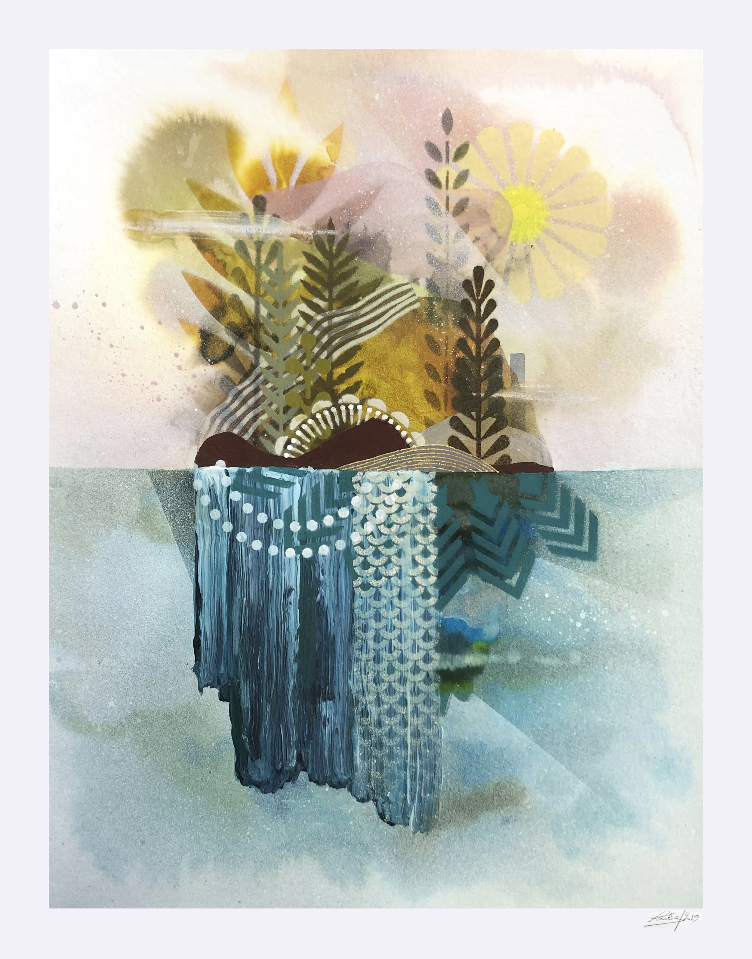 Jardin Flottant #2  - Mix media on paper - 36 x46 cm | 2019