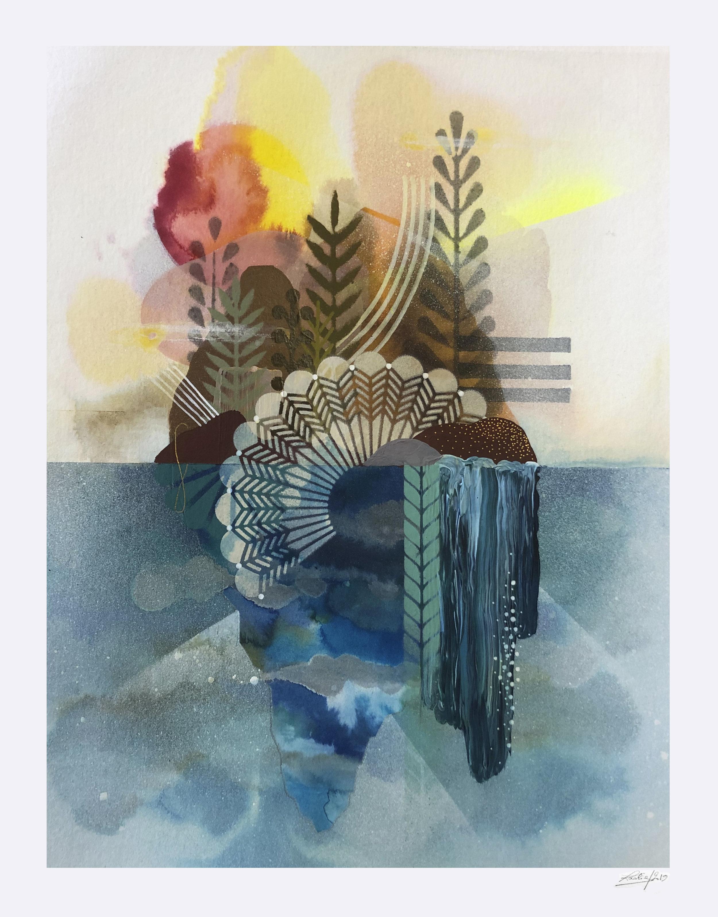 ardin Flottant #3  - Mix media on paper - 36 x46 cm | 2019