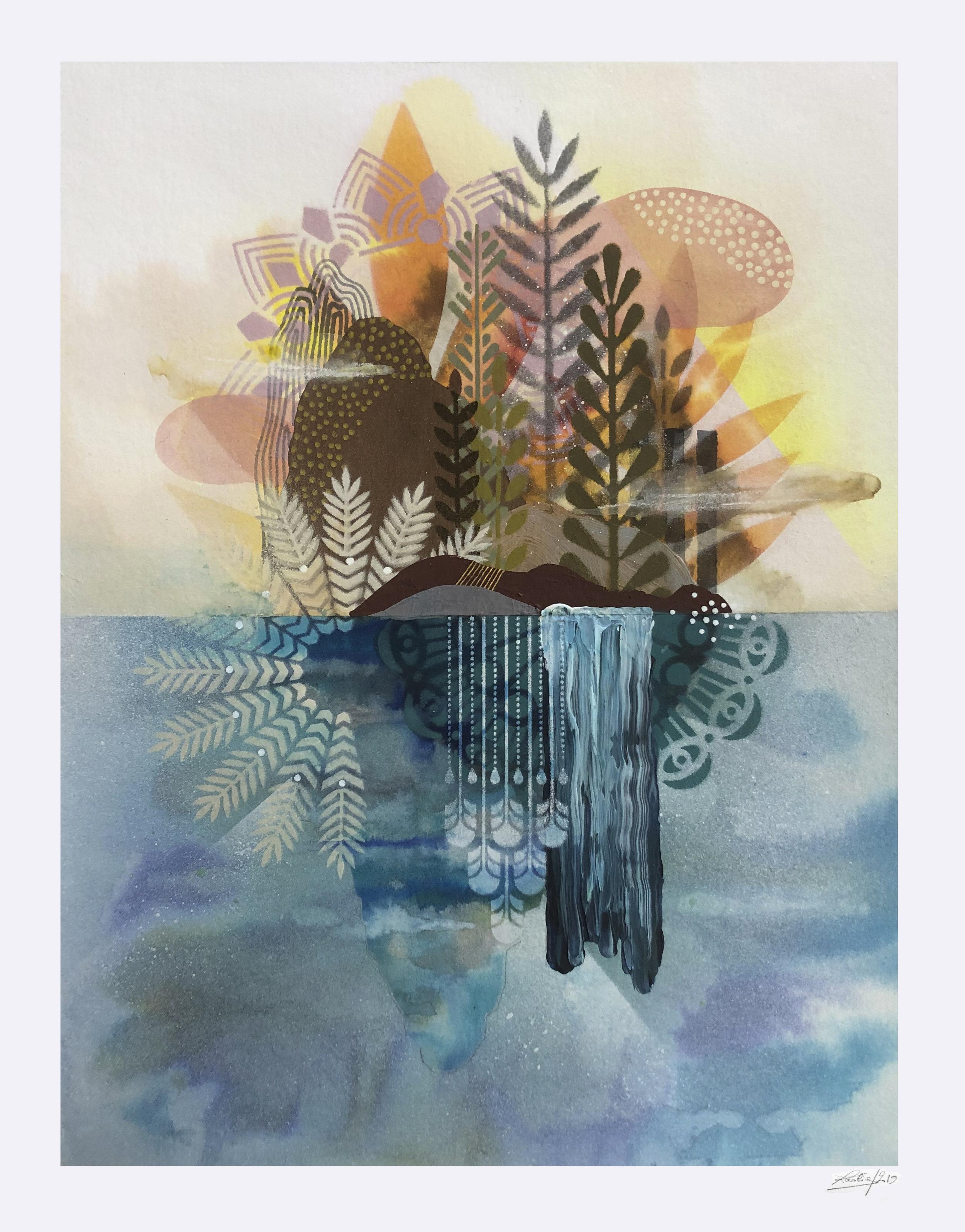 ardin Flottant #4  - Mix media on paper - 36 x46 cm | 2019