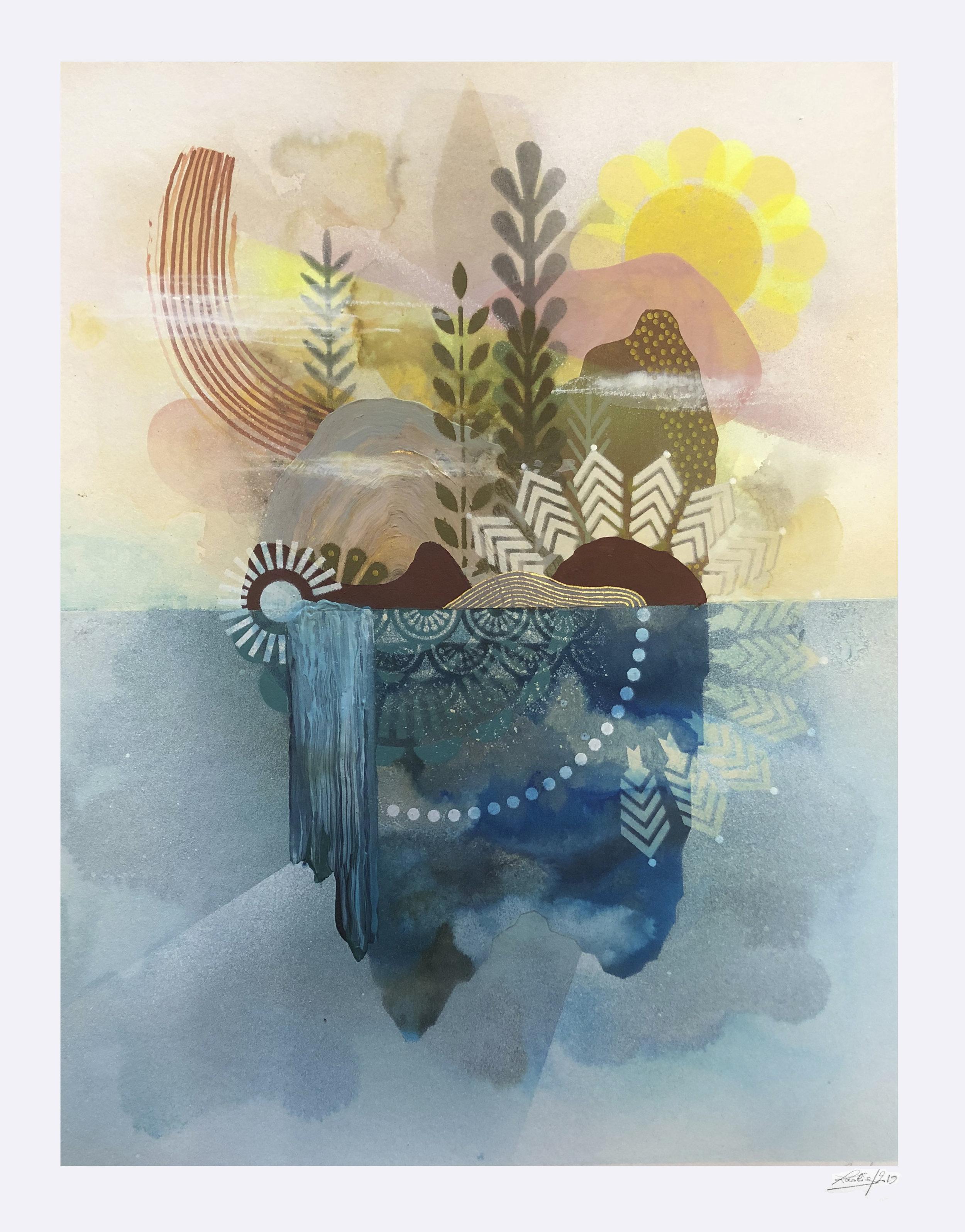ardin Flottant #5  - Mix media on paper - 36 x46 cm | 2019