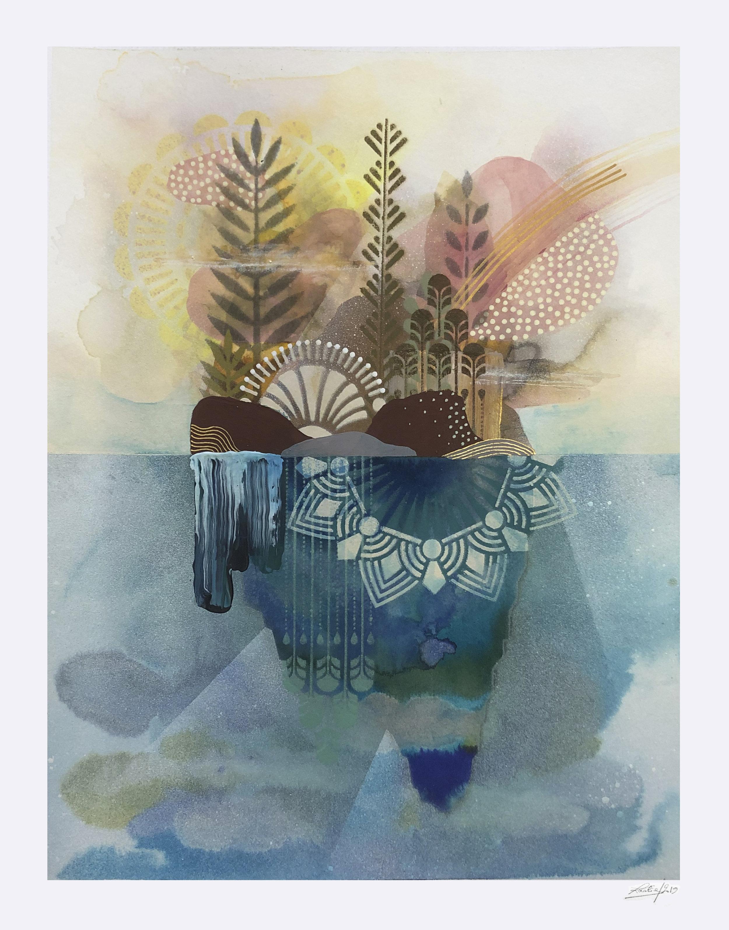 ardin Flottant #6  - Mix media on paper - 36 x46 cm | 2019