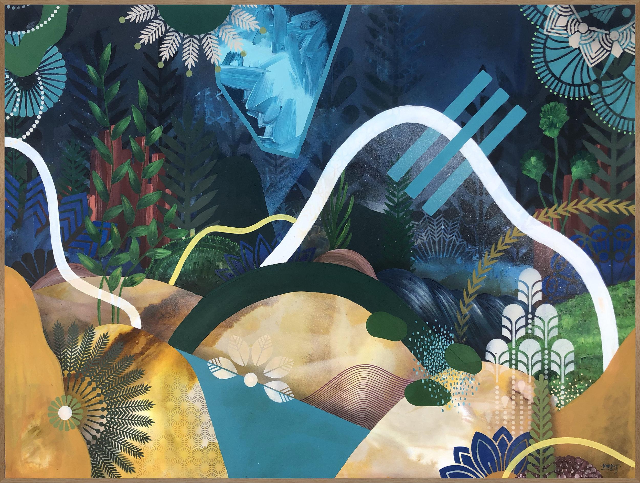 Acclimatation IV  - Acrylic, oil and ink on canvas, 100 x 73 cm | 2019