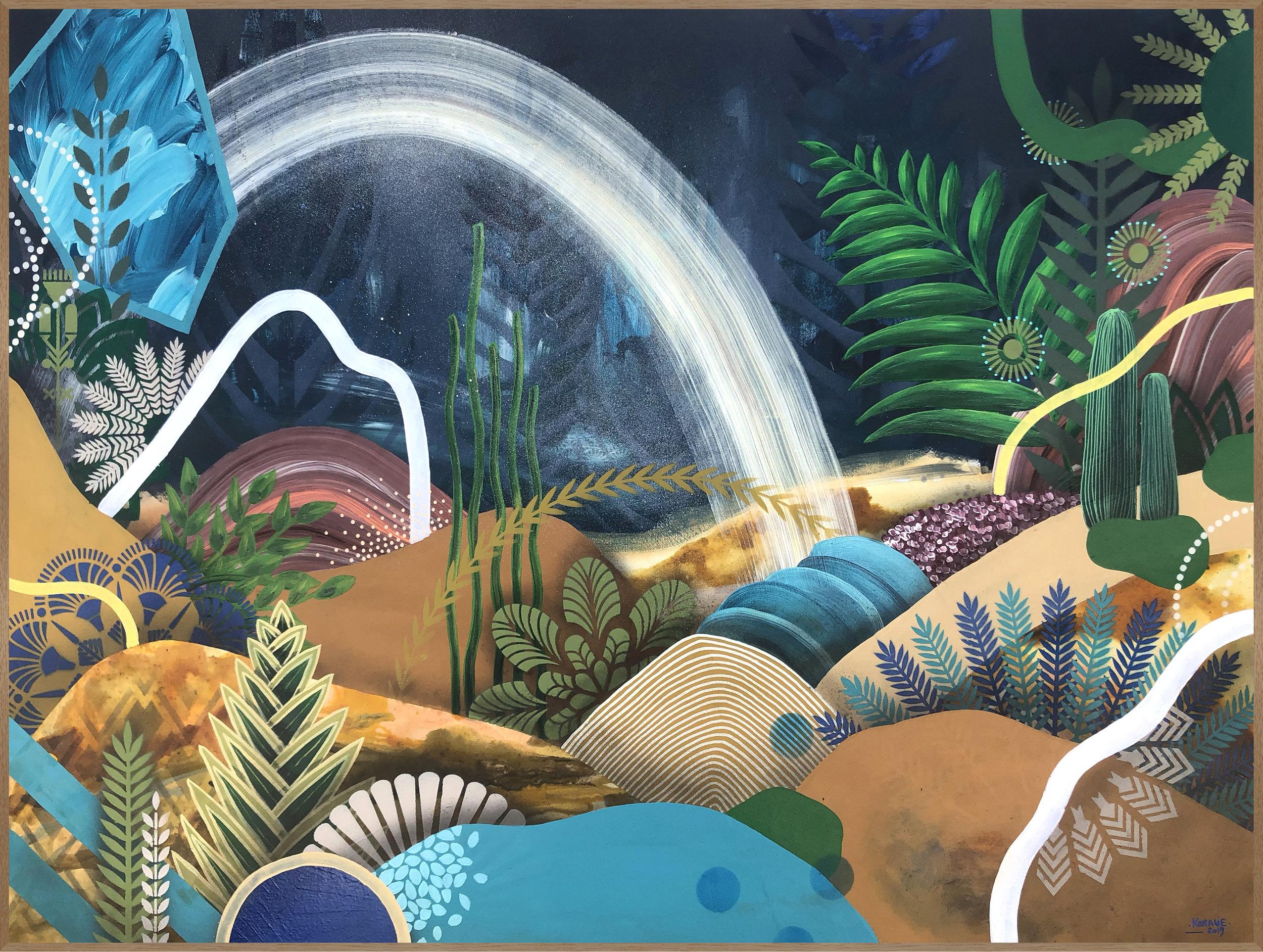 Acclimatation V  - Acrylic, oil and ink on canvas, 100 x 73 cm | 2019