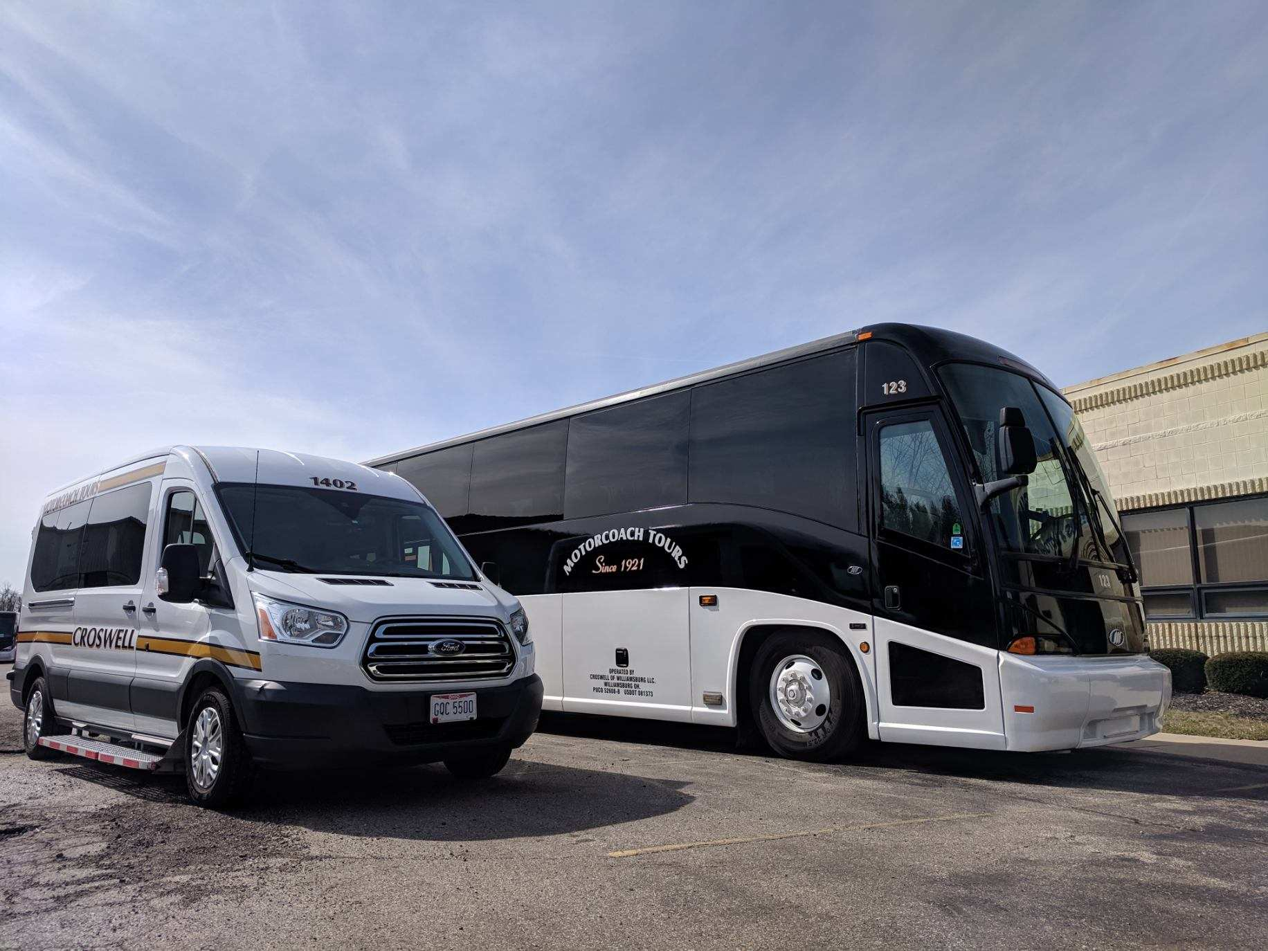 Charter Services - With our large, multi-city fleet ranging from 54 passenger tour coaches to 20 passenger shuttle buses, we will easily accommodate the needs of your group's size and budget. Travel in comfort and safety in our Deluxe VIP Motorcoaches. Find out more ➝