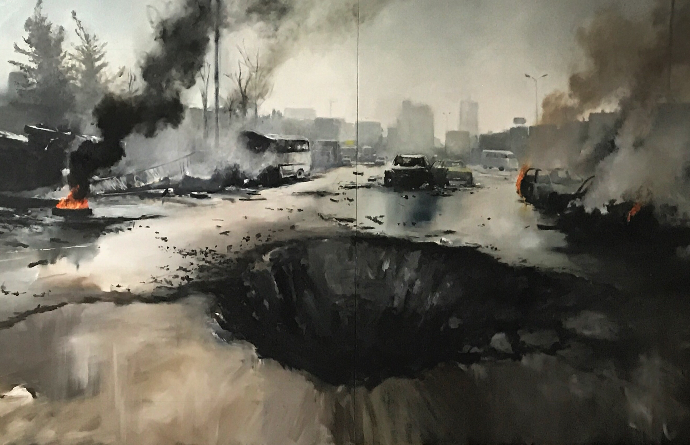"Crater 2017-18. Oil on canvas 60"" x 96"""