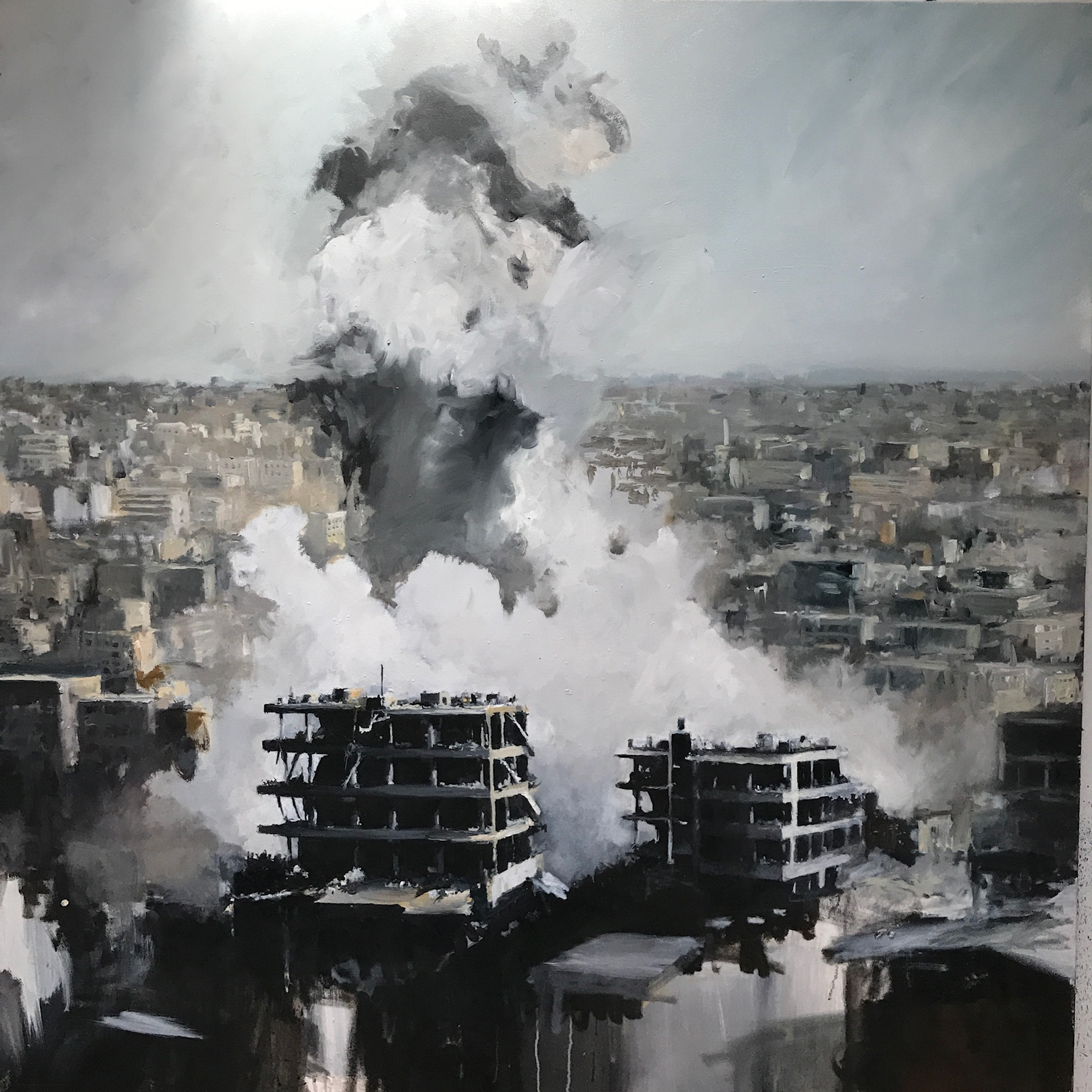 "Homs 2017. Oil on canvas 48""x 48"""