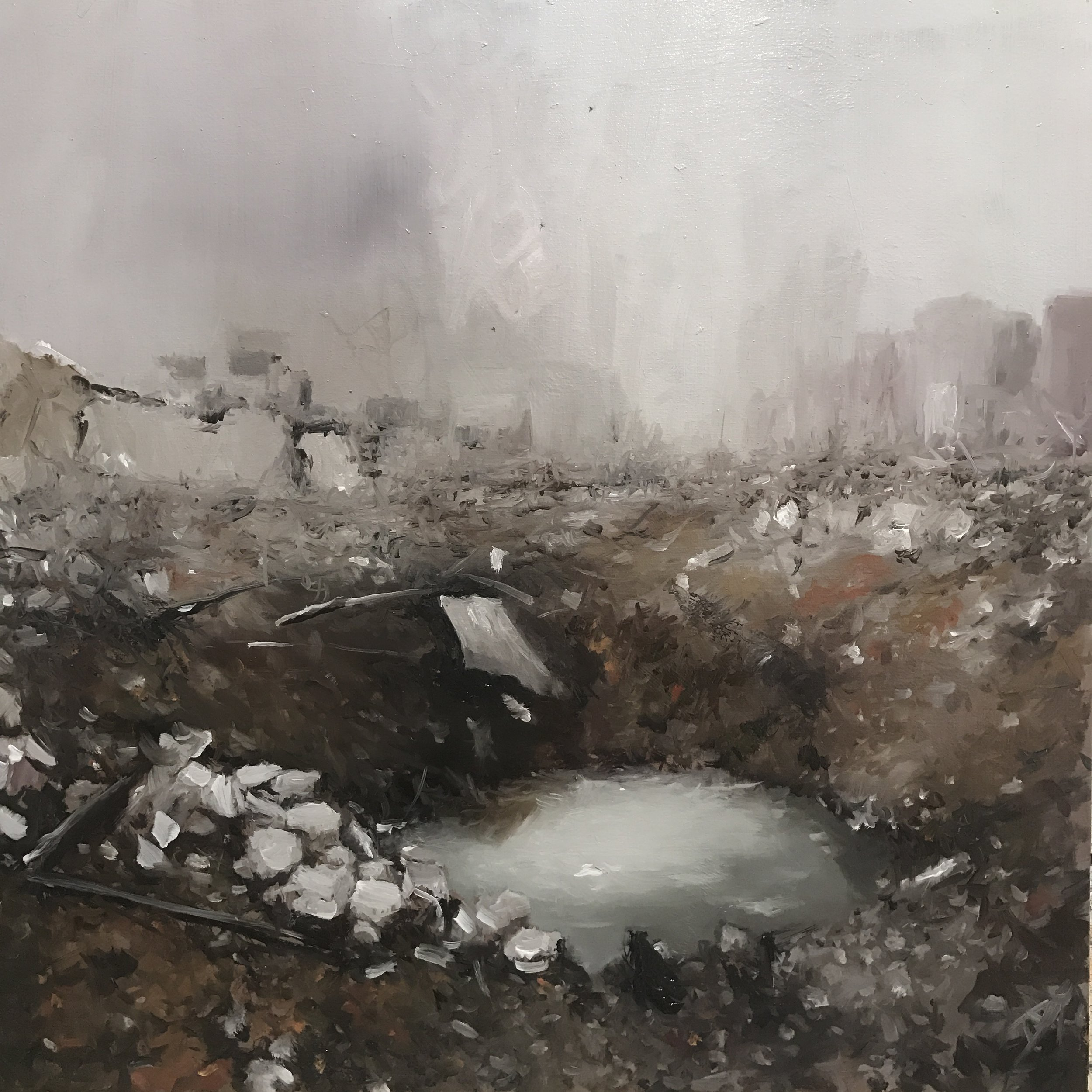 "Crater 2018. Oil on canvas 24""x 24"""