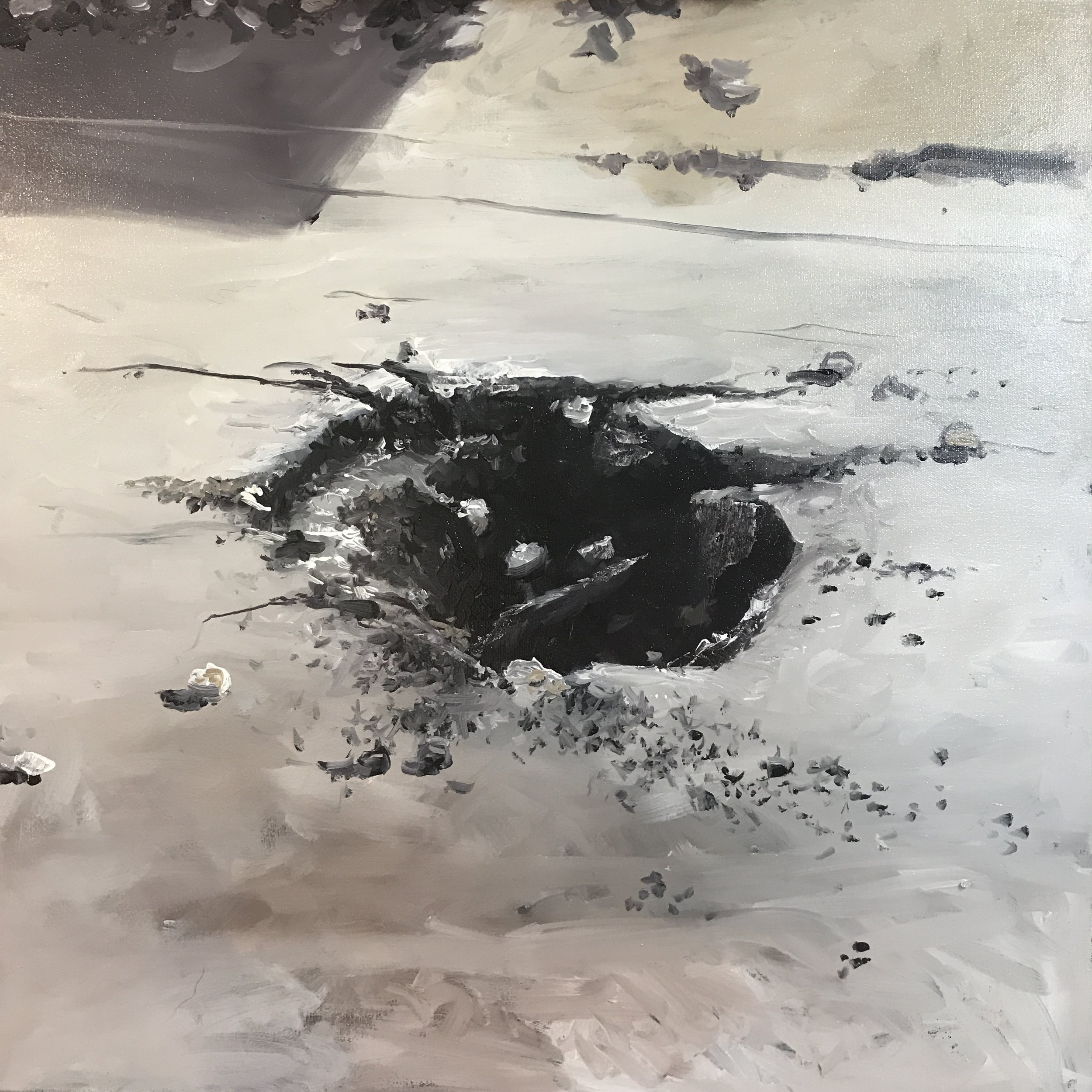 "crater 2017-18. Oil on canvas 24""x 24"""