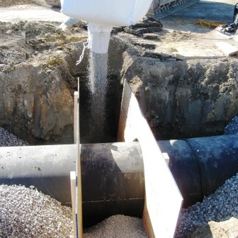 Anti-Seep Collars, also known as Trench Dams and Trench Breakers, are designed to encircle a pipe. AquaBlok is superior to soil trench dams.