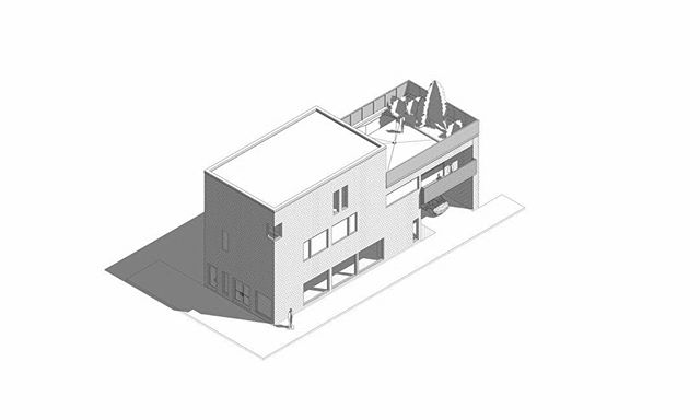 Our firm enjoys  axonometric drawings. Here is a design for Halifax of a three story multi-residential design with roof top garden and storefronts.