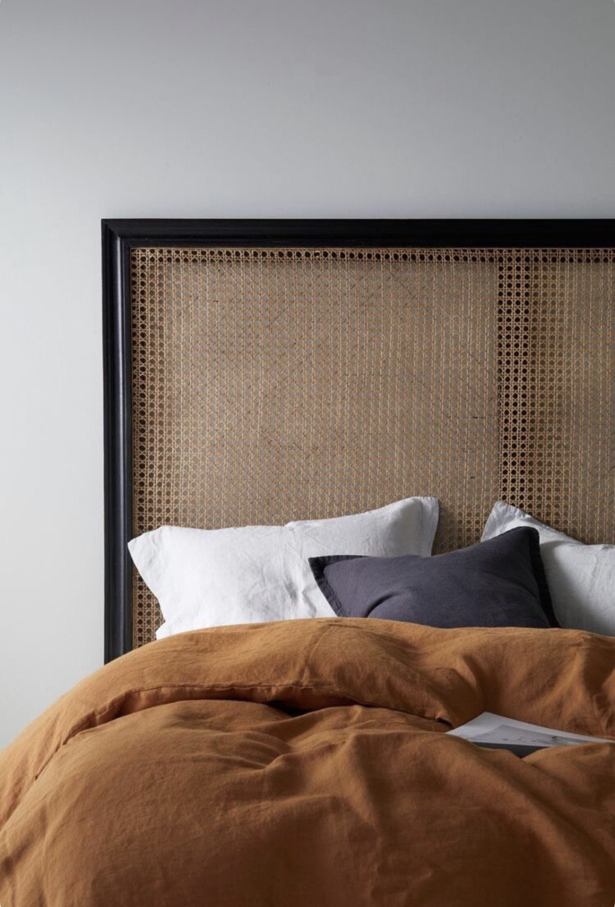 The  headboard image from  @istome_store  that sparked the room design - cane webbing was a must!