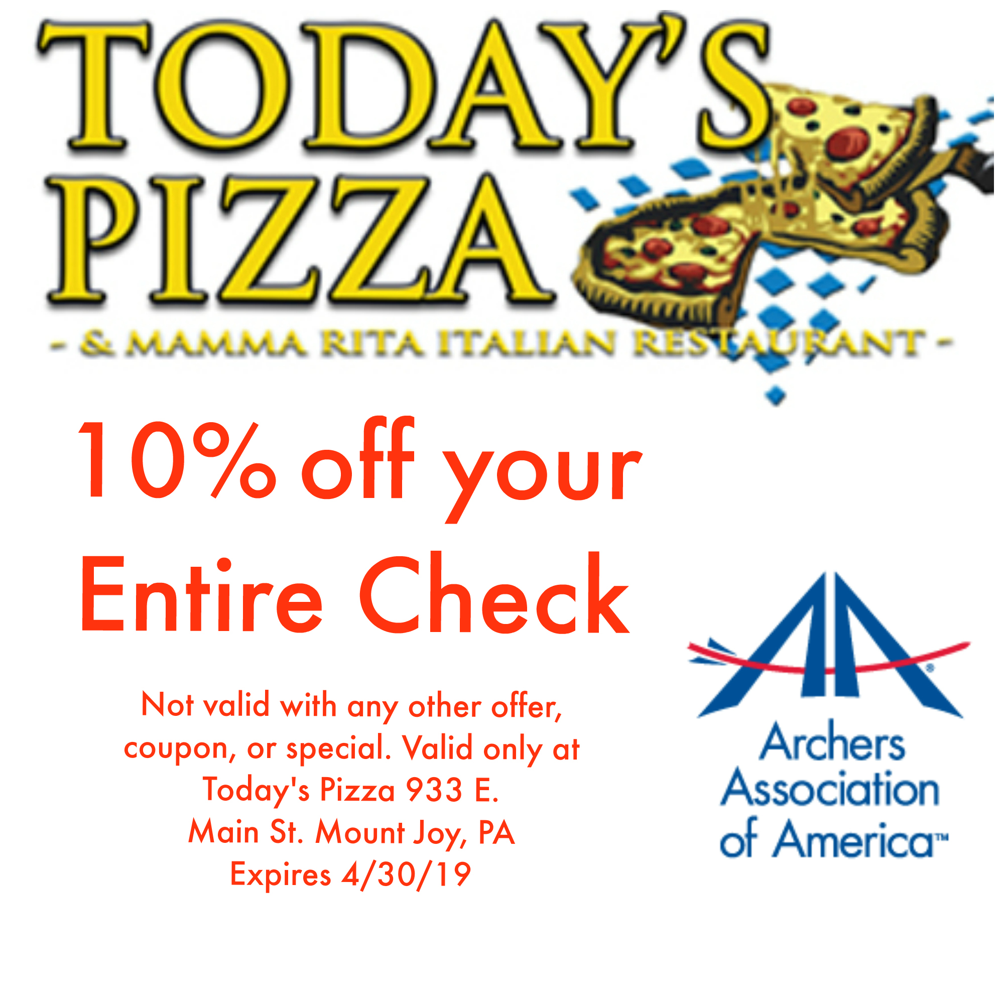 Today's Pizza & Mamma Rita Italian Restaurant - 10% off your Entire CheckShow this coupon