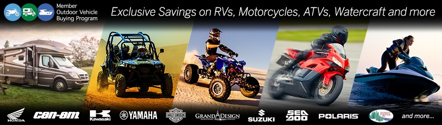 RVs, Motorcycles, Powersport and Watercraft Discounts - Discounts for new and used cars and trucksDiscounts vary (Save over $1,100 off MSRP on powersport vehicles)