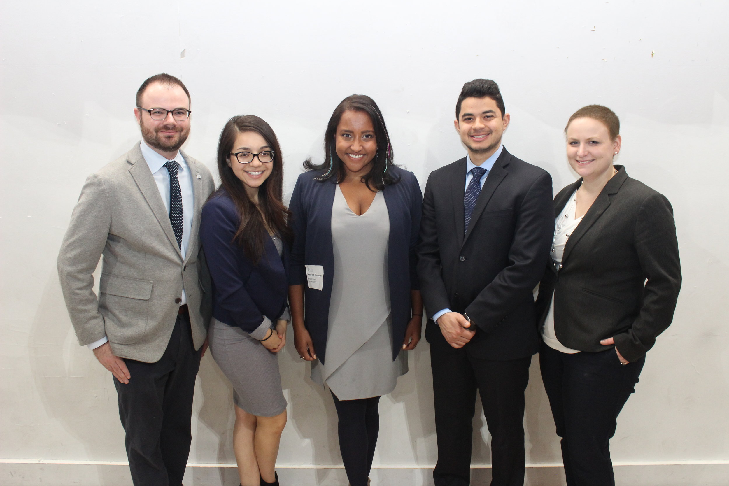 Justice Fellows L-R John Travis, Cecilia Lopez, CCCS' Maryann Tharappel, Luis Rodriguez, Sarah Burpee