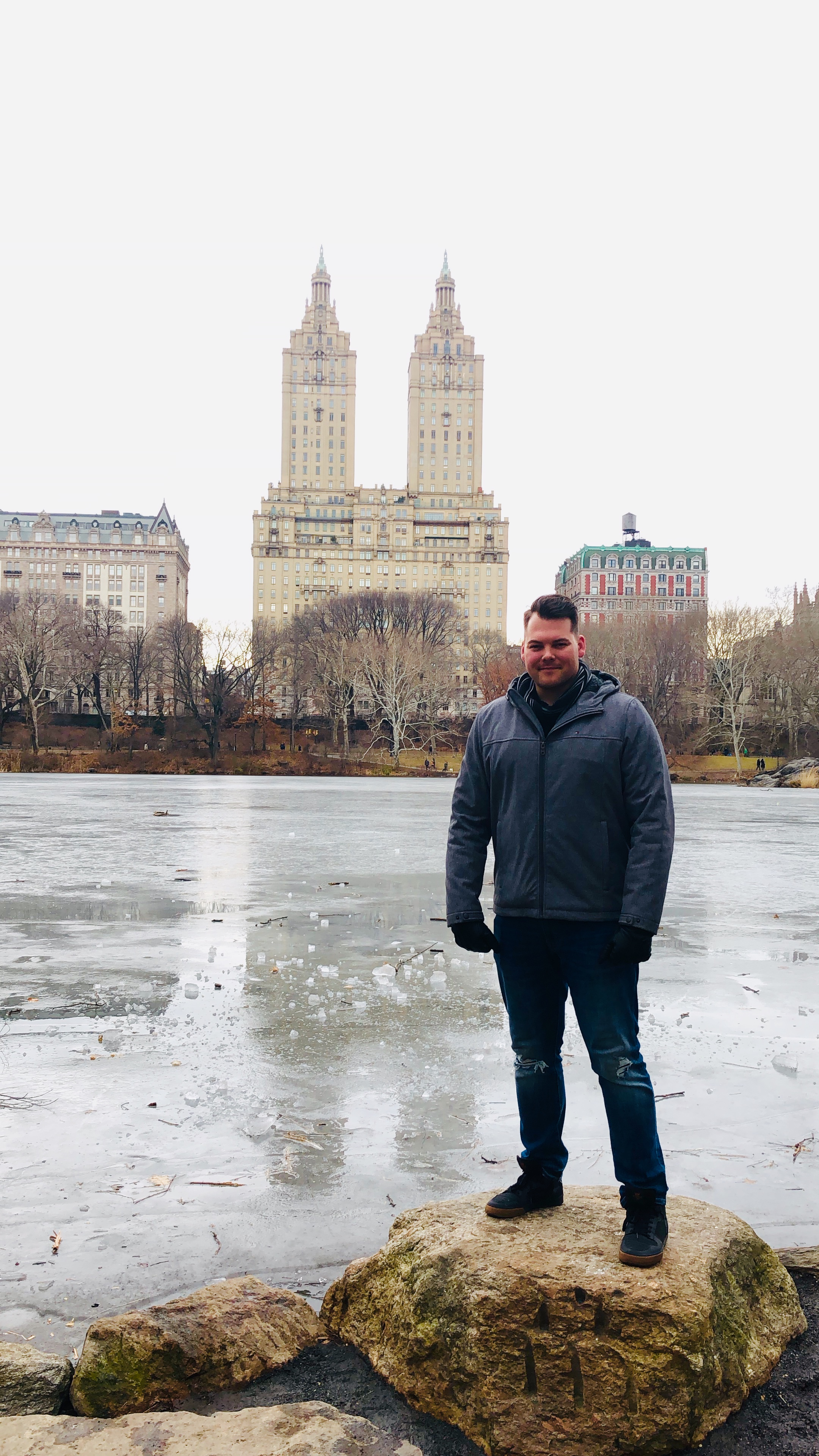 Frozen Lake @ Central Park. Living in San Diego, you don't see this. Ever. I'm also really curious what the engraving of the stone I'm standing on is.