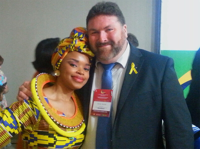 Zoleka Mandela and Peter Frazer at WHO 2nd High Level Road Safety Conference in Braslia