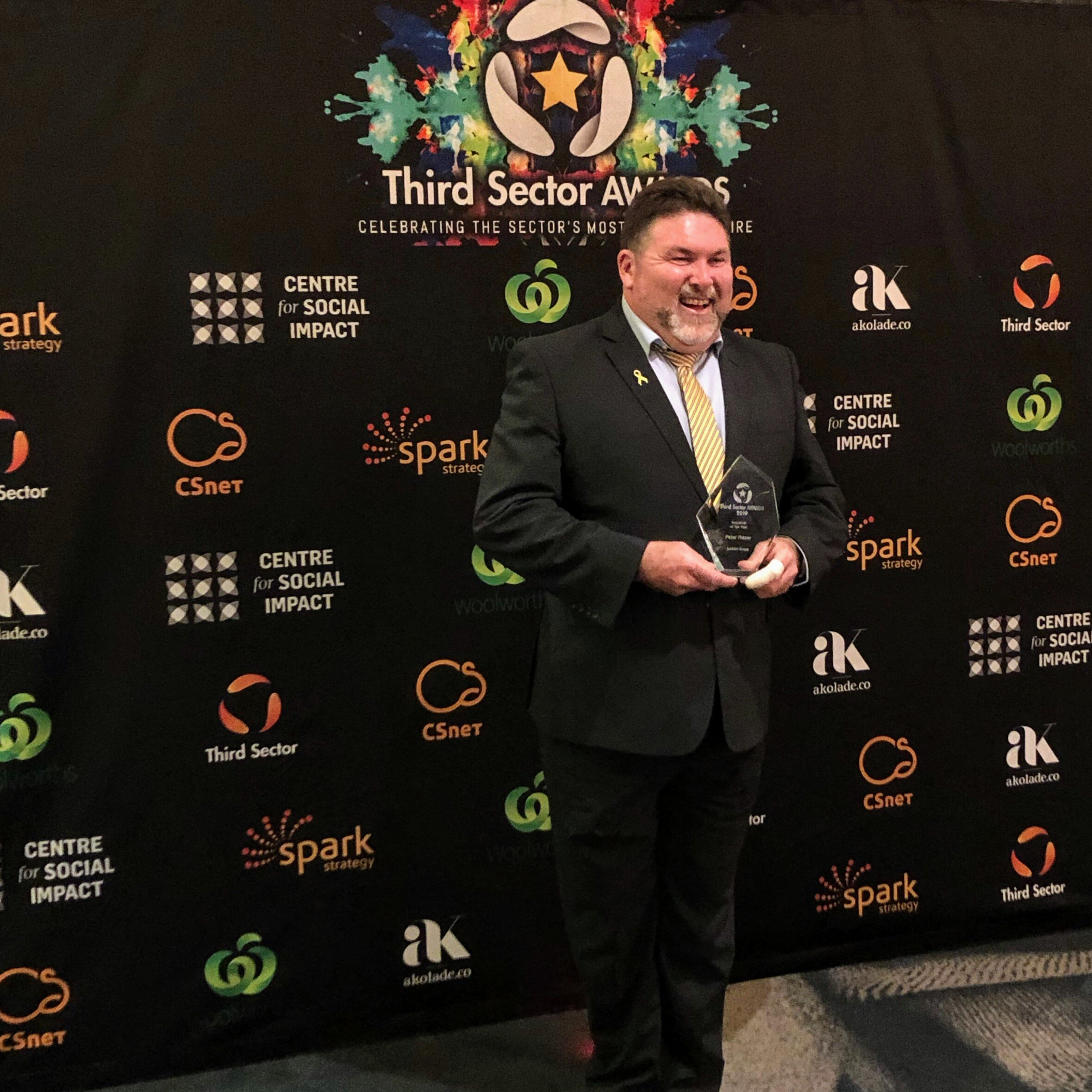 2019 Volunteer of the Year, Peter Frazer, as awarded by the Third Sector Awards