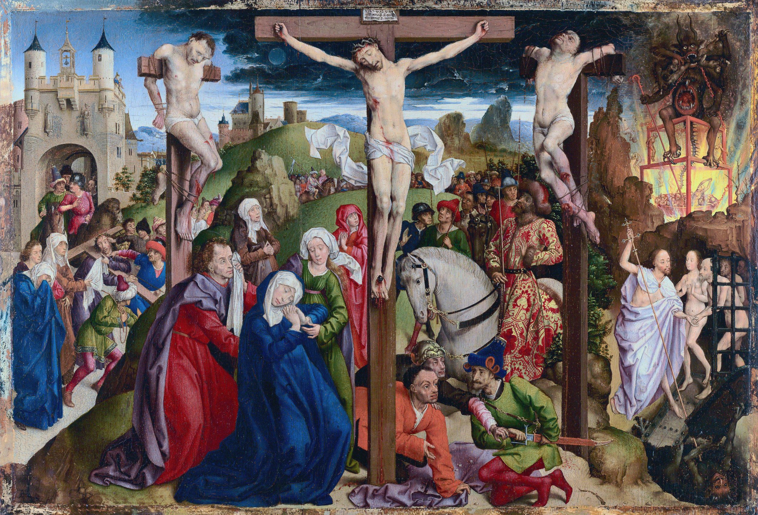 Artist:  Dreux   Budé Master, possibly André d'Ypres (French, active by 1425/26, died 1450) 1450 – artist (French)  Title:  The Crucifixion. Date:    before    1450. This work of art is in the public domain.