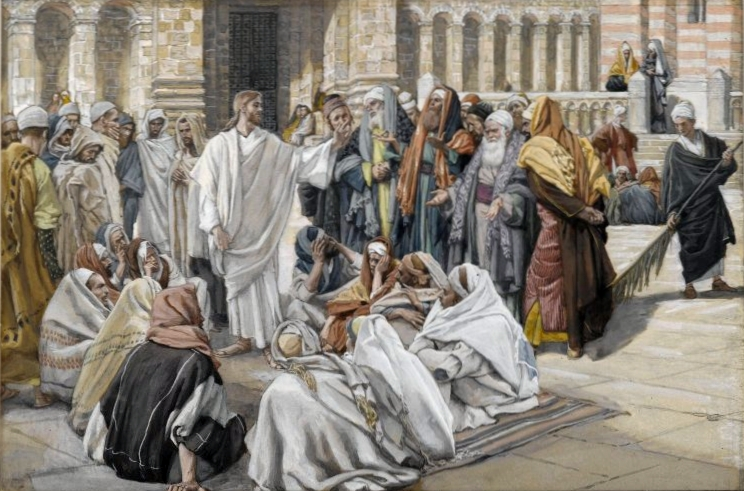 Artist: James Tissot. Title: ''The Pharisees Question Jesus (Les pharisiens questionnent Jésus)''. Year: between 1886-1894. This is in the Public Domain. {{PD-US}}