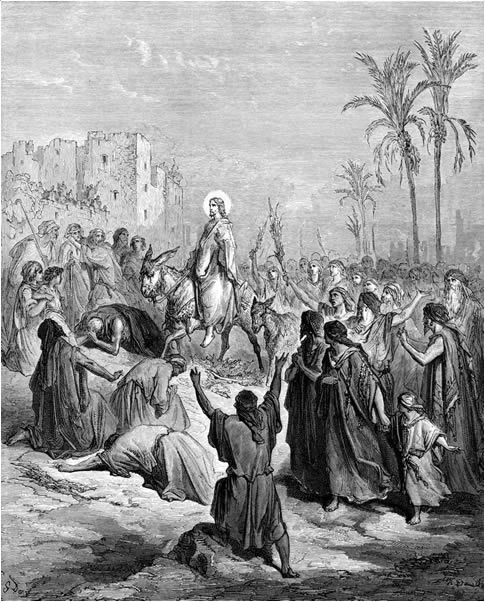 Artist:    Gustave Doré    (1832–1883). Title: Jesus Rides into Jerusalem on a Donkey on Palm Sunday. This work is in the public domain.  {{ PD-US }}