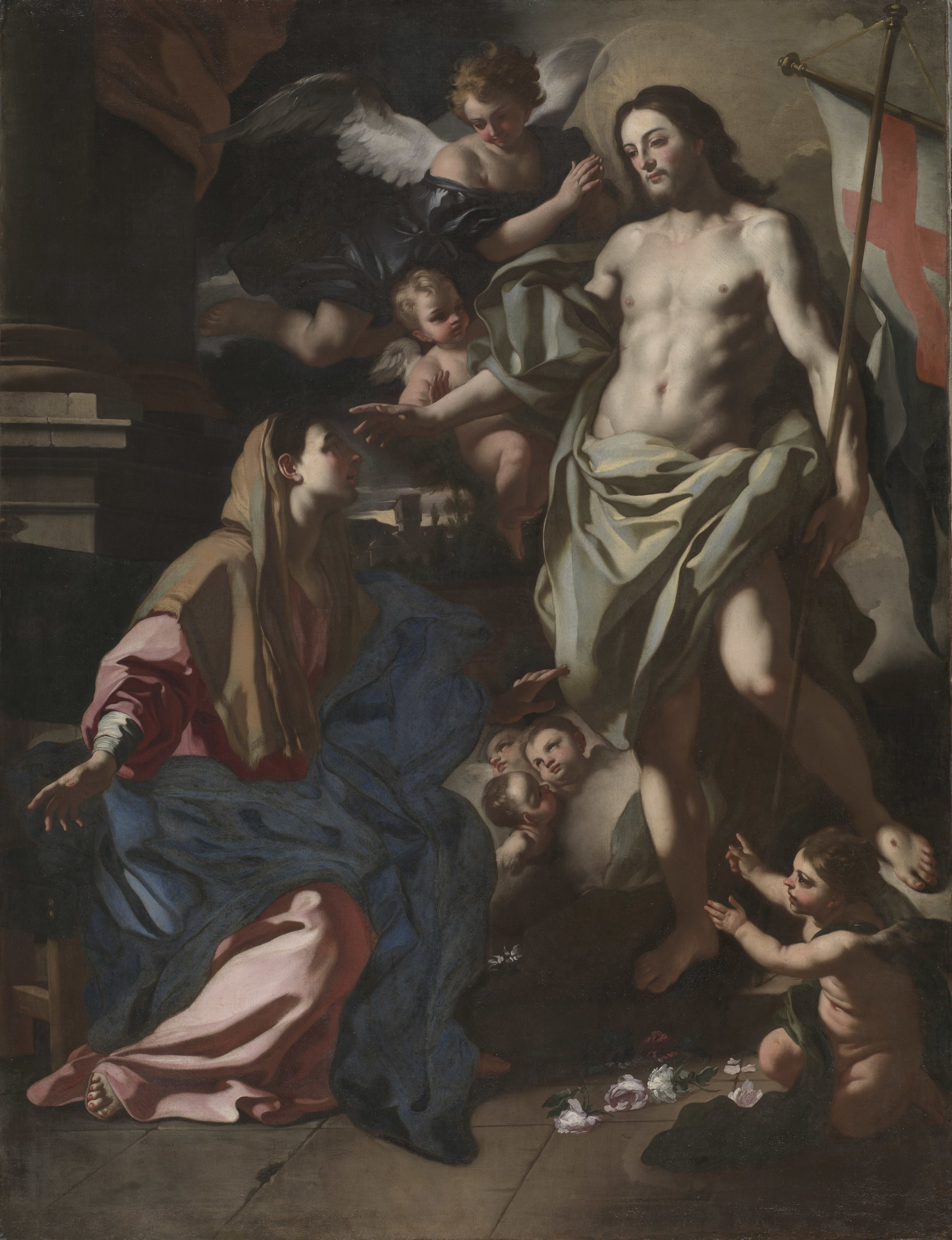 Artist: Francesco Solimena - The Risen Christ Appearing to the Virgin. Circa 1708. This work is in the public domain. This file was donated to Wikimedia Commons as part of a project with the Cleveland Museum of Art. See the  Open Access at the Cleveland Museum of Art .