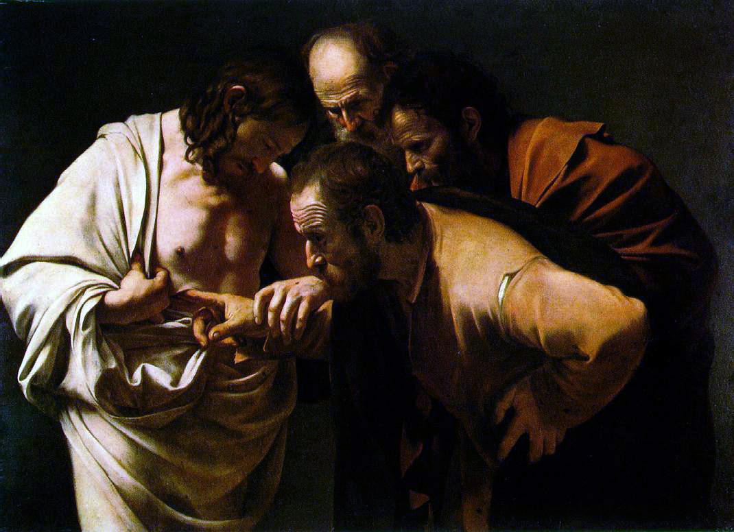 """Doubting Thomas'', painting by  Caravaggio  (1602-03). This work is in the public domain."