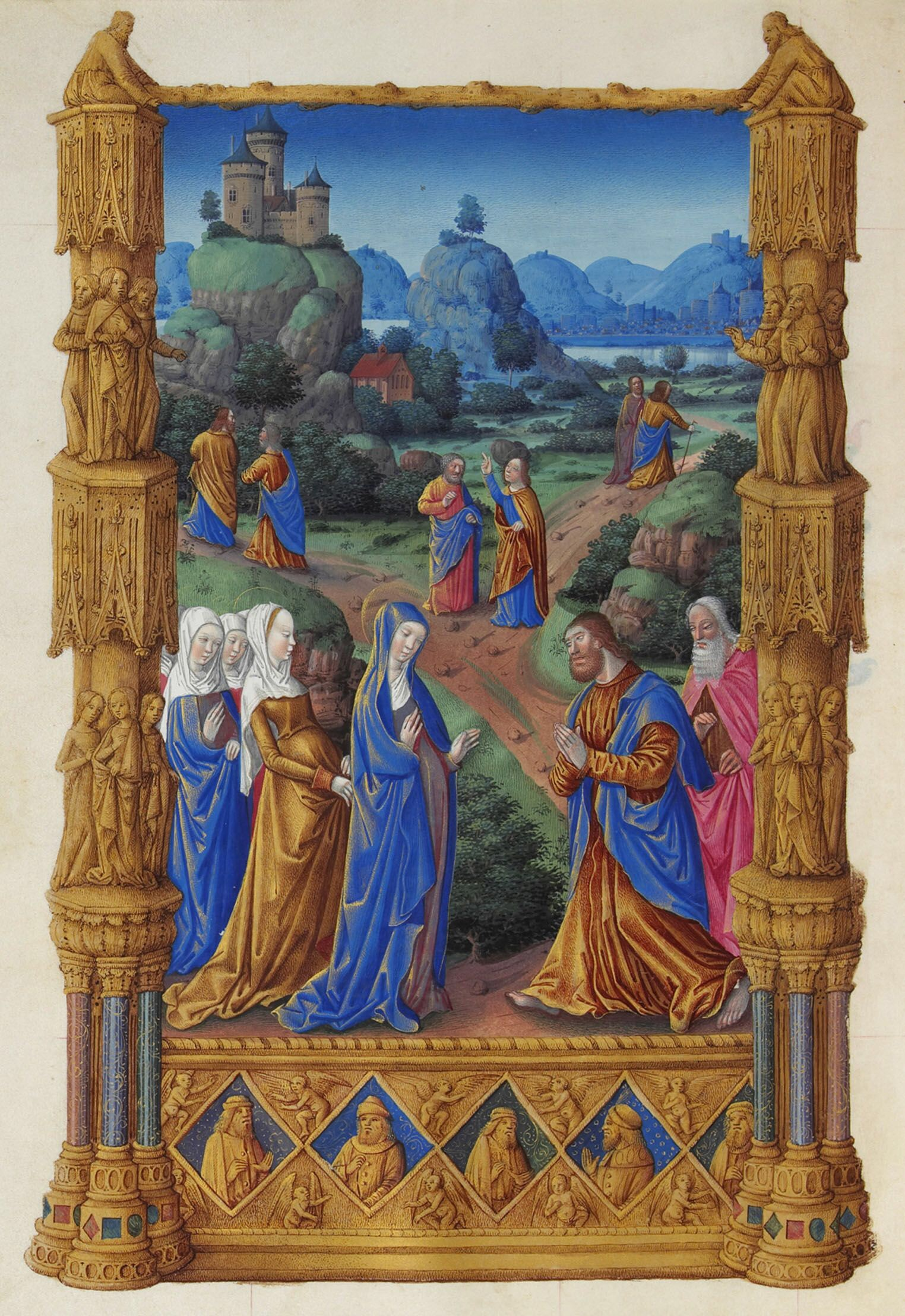 Les Très Riches Heures du duc de Berry, Folio 122v - The Apostles Going Forth to Preach the Musée Condé, Chantilly.  Category:Très Riches Heures du Duc de Berry . This work of art is in the Public Domain. {{ PD-US }}