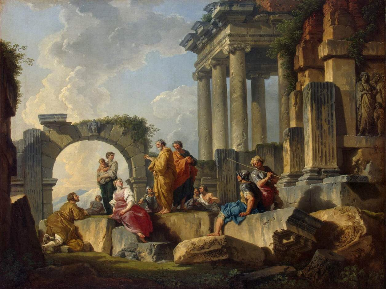 Artwork by: Giovanni Paolo Pannini. Title: Apostle Paul Preaching on the Ruins |description.. Date: 1744. This work is in the public domain. {{ PD-US }}