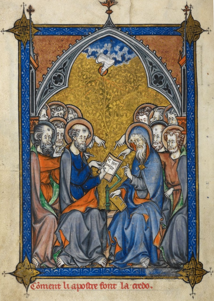 The twelve Apostles receiving inspiration from the Holy Spirit and composing the Creed, from Somme le Roy, a moral compendium. This work is in the public domain. {{ PD-US }}   Source: http  ://www.bl.uk/manuscripts/Viewer.aspx?ref=add_ms_54180_fs001r   Author:  Laurent